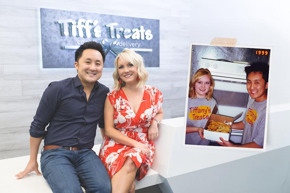 Leon and Tiffany Chen (pictured in 1999 in inset, and in present day) have tracked down their first Tiff's Treats customer. (Photo: Courtesy of Tiff's Treats)