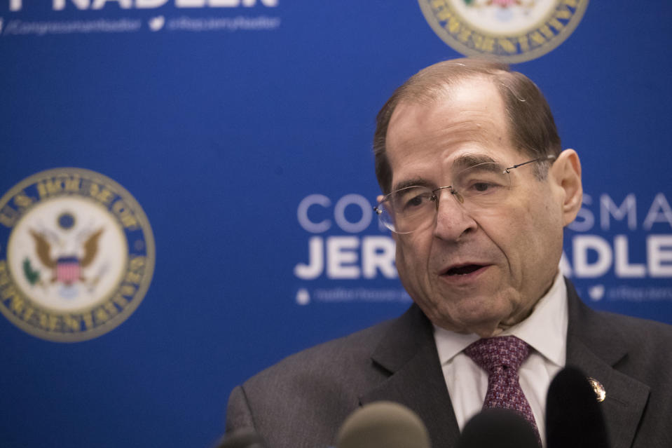 U.S. Rep. Jerrold Nadler, D-N.Y., chair of the House Judiciary Committee, speaks during a news conference, Thursday, April 18, 2019, in New York. (AP Photo/Mary Altaffer)