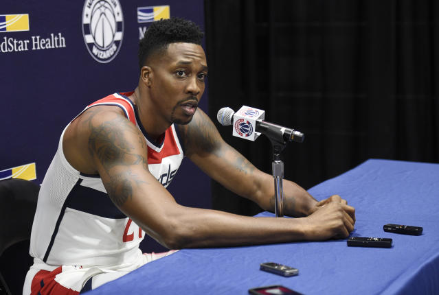"<a class=""link rapid-noclick-resp"" href=""/nba/players/3818/"" data-ylk=""slk:Dwight Howard"">Dwight Howard</a> has been sidelined with an injury to his piriformis muscle. (AP Photo/Nick Wass)"