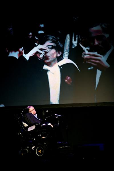"British theoretical physicist professor Stephen Hawking gives a lecture entitled: ""A Brief History of Mine"" during the Starmus Festival on the Spanish Canary island of Tenerife on June 29, 2016"