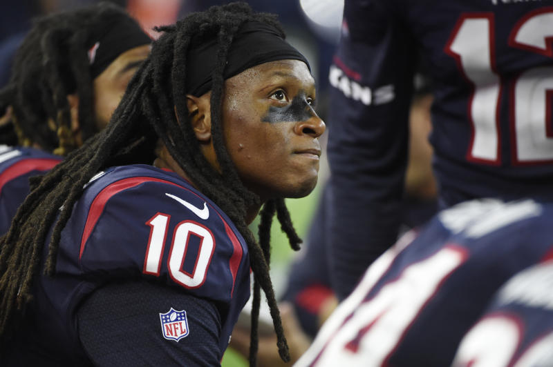 Texans wide receiver DeAndre Hopkins reportedly left the Texans' facility after insensitive comments by Texans owner Bob McNair came to light. (AP)