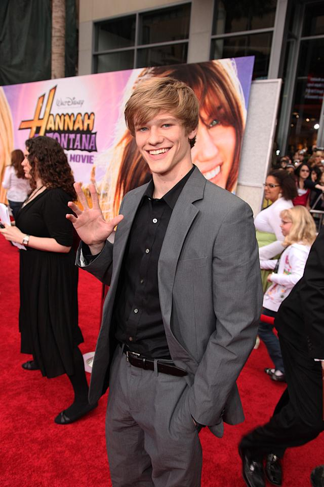 """<a href=""""http://movies.yahoo.com/movie/contributor/1808628404"""">Lucas Till</a> at the Los Angeles premiere of <a href=""""http://movies.yahoo.com/movie/1810025272/info"""">Hannah Montana The Movie</a> - 04/02/2009"""