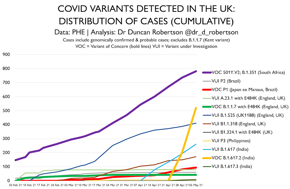 Coronavirus variants detected in the UK as of 5 May. (@Dr_D_Robertson/Twitter)