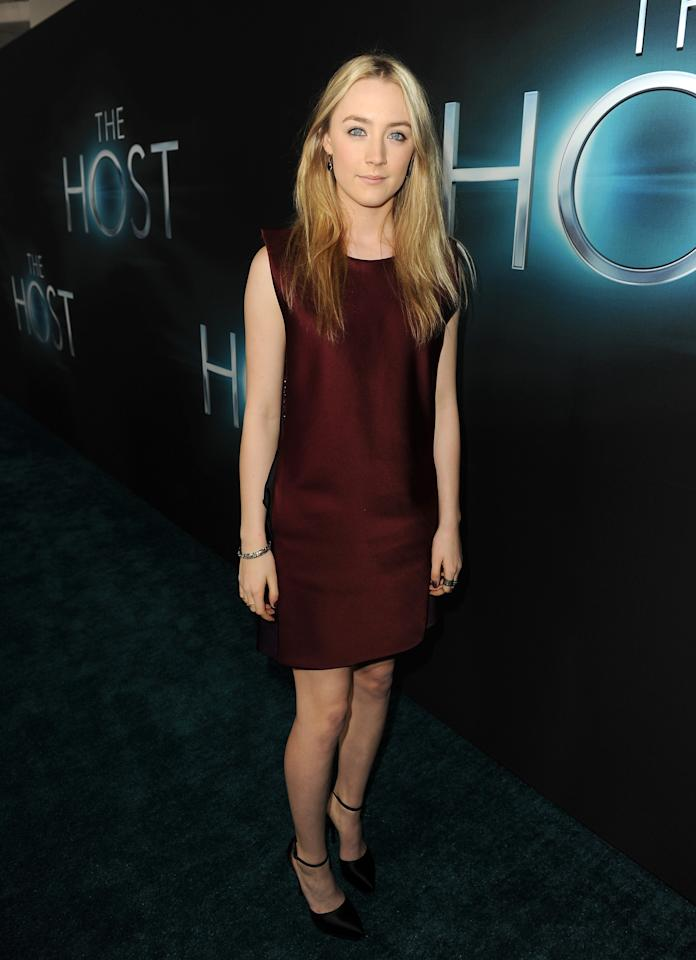 "HOLLYWOOD, CA - MARCH 19:  Actress Saoirse Ronan attends the premiere of Open Road Films ""The Host"" at ArcLight Cinemas Cinerama Dome on March 19, 2013 in Hollywood, California.  (Photo by Kevin Winter/Getty Images)"