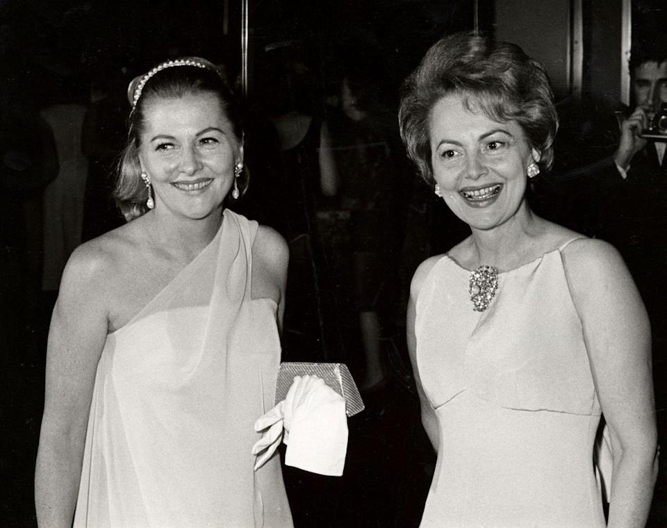 <p>Olivia with her sister in 1967 at Rainbow Room in New York City.</p>