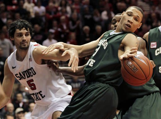Chicago State forward Lee Fisher, right, can't hold on to a rebound as San Diego State forward Garrett Green, left, looks on in the first half during an NCAA college basketball game Tuesday, Jan. 10, 2012, in San Diego. (AP Photo/Gregory Bull)