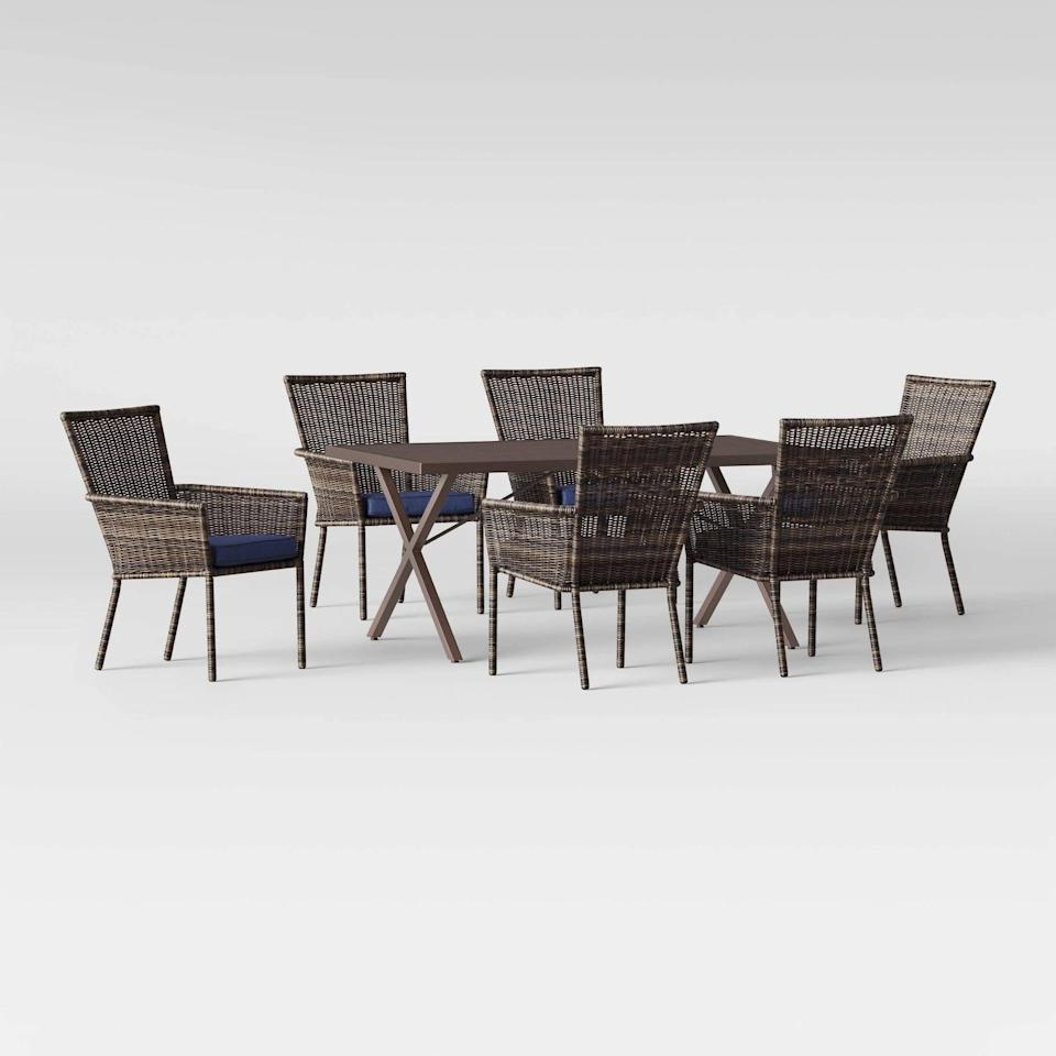<p>Host the best dinner party on the block with the <span>Monroe Patio Dining Set</span> ($930).</p>