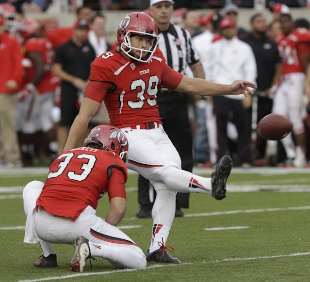 Utah's Andy Phillips (39) kicks a field goal during the second half of an NCAA college football game against Stanford on Saturday, Oct. 12, 2013, in Salt Lake City. Utah won 27-21. (AP Photo/Rick Bowmer)