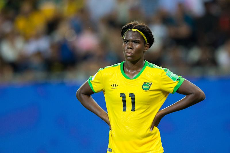 GRENOBLE, FRANCE - JUNE 18: Khadija Shaw of Jamaica during the 2019 FIFA Women's World Cup France group C match between Jamaica and Australia at Stade des Alpes on June 18, 2019 in Grenoble, France. (Photo by Craig Mercer/MB Media/Getty Images)