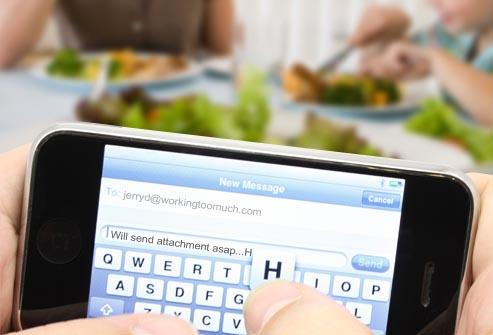 "<div class=""caption-credit""> Photo by: Roy McMahon</div><div class=""caption-title""></div><b>Bad Habit # 3: Too Much Texting, Emailing, Talking</b> <br> It's not fair to tell the kids not to text at the dinner table if you're there on your phone. What you do sends a stronger message than what you say. Set family rules about electronics and everyone, including parents, needs to stick to them. Kids who spend too much time in front of screens often have problems with sleepiness, school performance, and weight issues. But kids who eat dinner with the family have a lower risk of obesity."