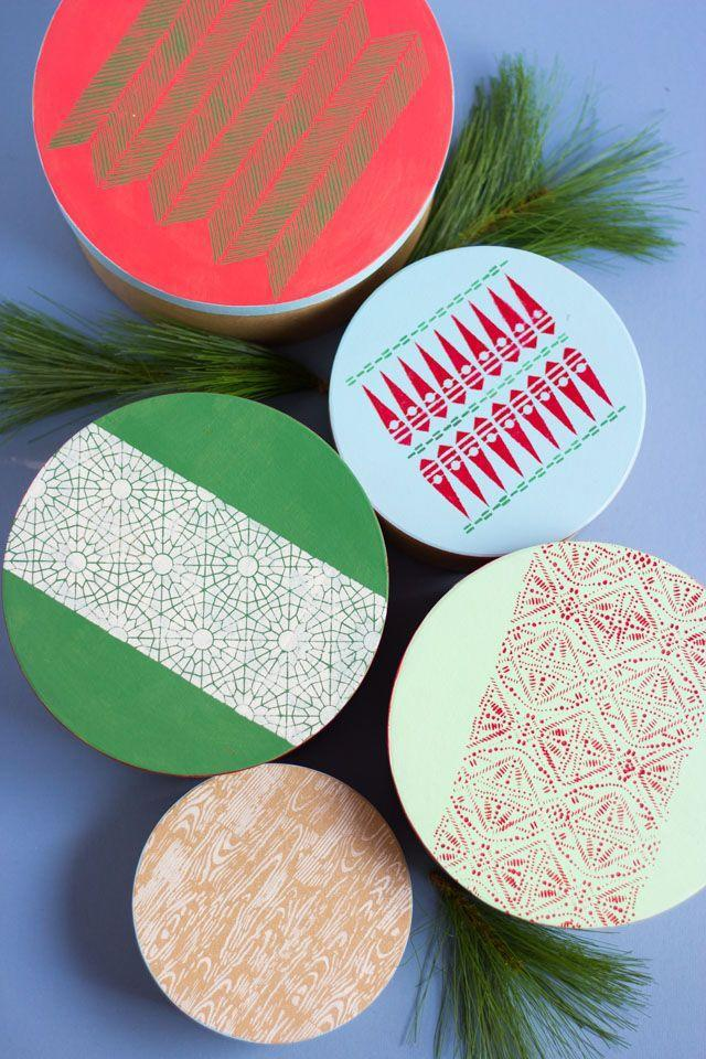 """<p>For pretty wrapping that doubles as functional storage later, decorate the tops with stencils and craft paint. Of course, you can achieve a similar look on kraft or butcher paper, too. </p><p>Get the tutorial at <a href=""""https://designimprovised.com/2018/11/how-to-make-stenciled-christmas-gift-boxes.html"""" rel=""""nofollow noopener"""" target=""""_blank"""" data-ylk=""""slk:Design Improvised"""" class=""""link rapid-noclick-resp"""">Design Improvised</a>.</p><p><a class=""""link rapid-noclick-resp"""" href=""""https://www.amazon.com/Coogam-Pcs-Christmas-Stencils-Template/dp/B07G7YMB9B?tag=syn-yahoo-20&ascsubtag=%5Bartid%7C10072.g.34015639%5Bsrc%7Cyahoo-us"""" rel=""""nofollow noopener"""" target=""""_blank"""" data-ylk=""""slk:SHOP HOLIDAY STENCILS"""">SHOP HOLIDAY STENCILS</a> </p>"""