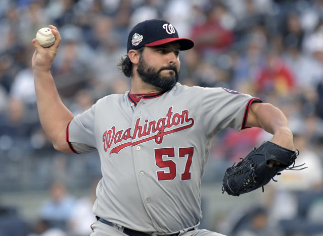 Washington Nationals pitcher Tanner Roark delivers the ball to a New York Yankees batter during the first inning of a baseball game Tuesday, June 12, 2018, at Yankee Stadium in New York. (AP Photo/Bill Kostroun)