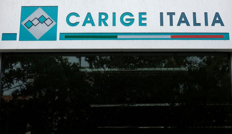FILE PHOTO: The logo of the Carige bank is seen in Rome