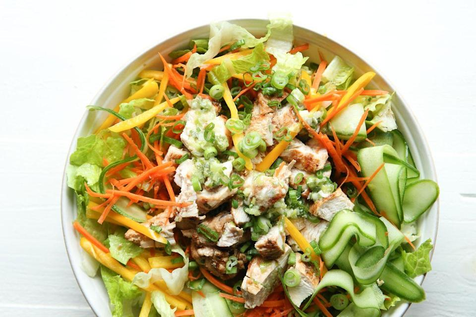"""<p>This is literally the most delicious way to have a salad for dinner.</p><p>Get the recipe from <a href=""""https://www.delish.com/cooking/recipe-ideas/recipes/a51581/asian-salad-recipe/"""" rel=""""nofollow noopener"""" target=""""_blank"""" data-ylk=""""slk:Delish"""" class=""""link rapid-noclick-resp"""">Delish</a>.</p>"""