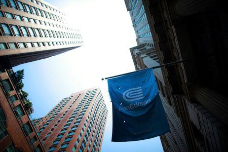 A Con Edison company flag is seen in New York