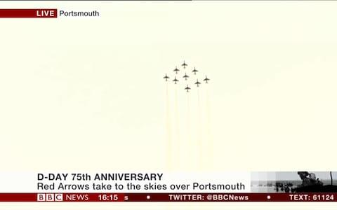 <span>The Red Arrows take to the skies over Portsmouth</span> <span>Credit: BBC </span>