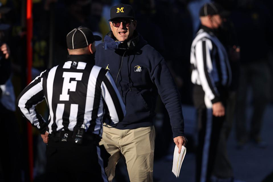 Head coach Jim Harbaugh of the Michigan Wolverines reacts in the second half while playing the Penn State Nittany Lions at Michigan Stadium on Nov. 28, 2020 in Ann Arbor, Michigan.