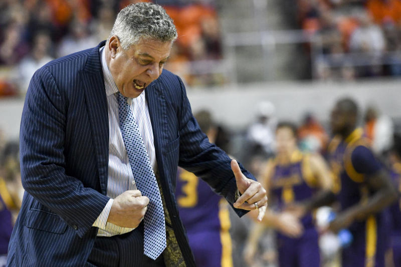 Auburn head coach Bruce Pearl reacts to a foul call during the second half of an NCAA college basketball game against Lipscomb, Sunday, Dec. 29, 2019, in Auburn, Ala. (AP Photo/Julie Bennett)