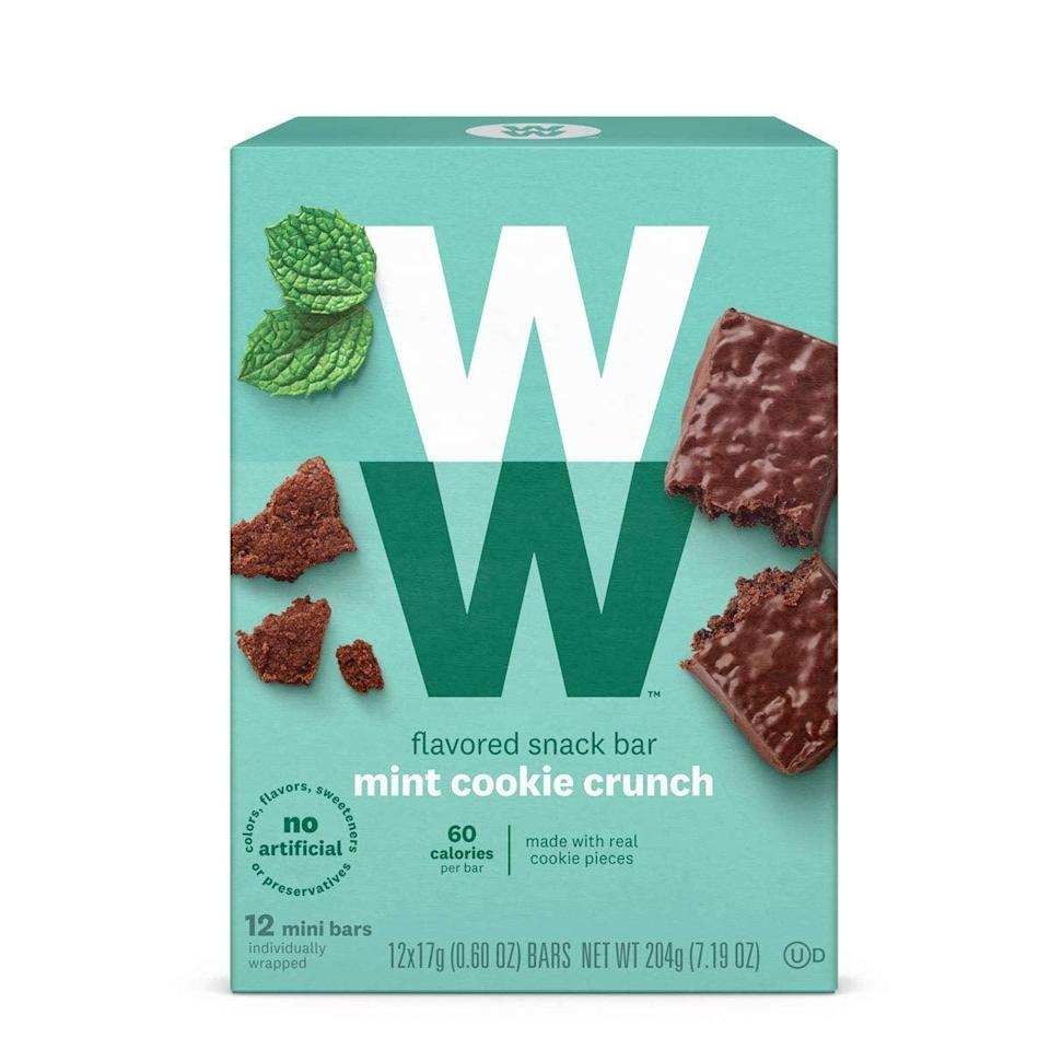 <p>Try these perfectly portioned <span>Weight Watchers Mint Cookie Crunch Mini Bar</span> ($16). They're so easy to stash in your bag for when hunger hits.</p>