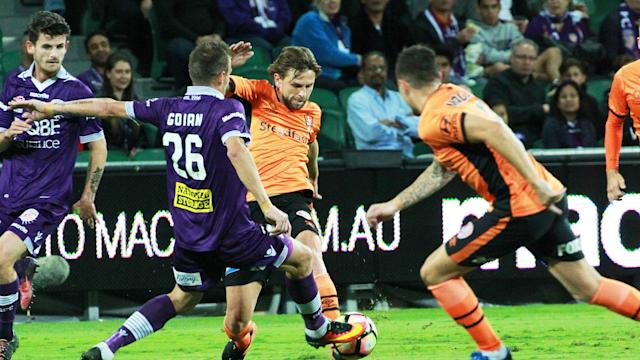Andy Keogh was on target as Perth Glory saw off Brisbane Roar to claim a place in the post-season.