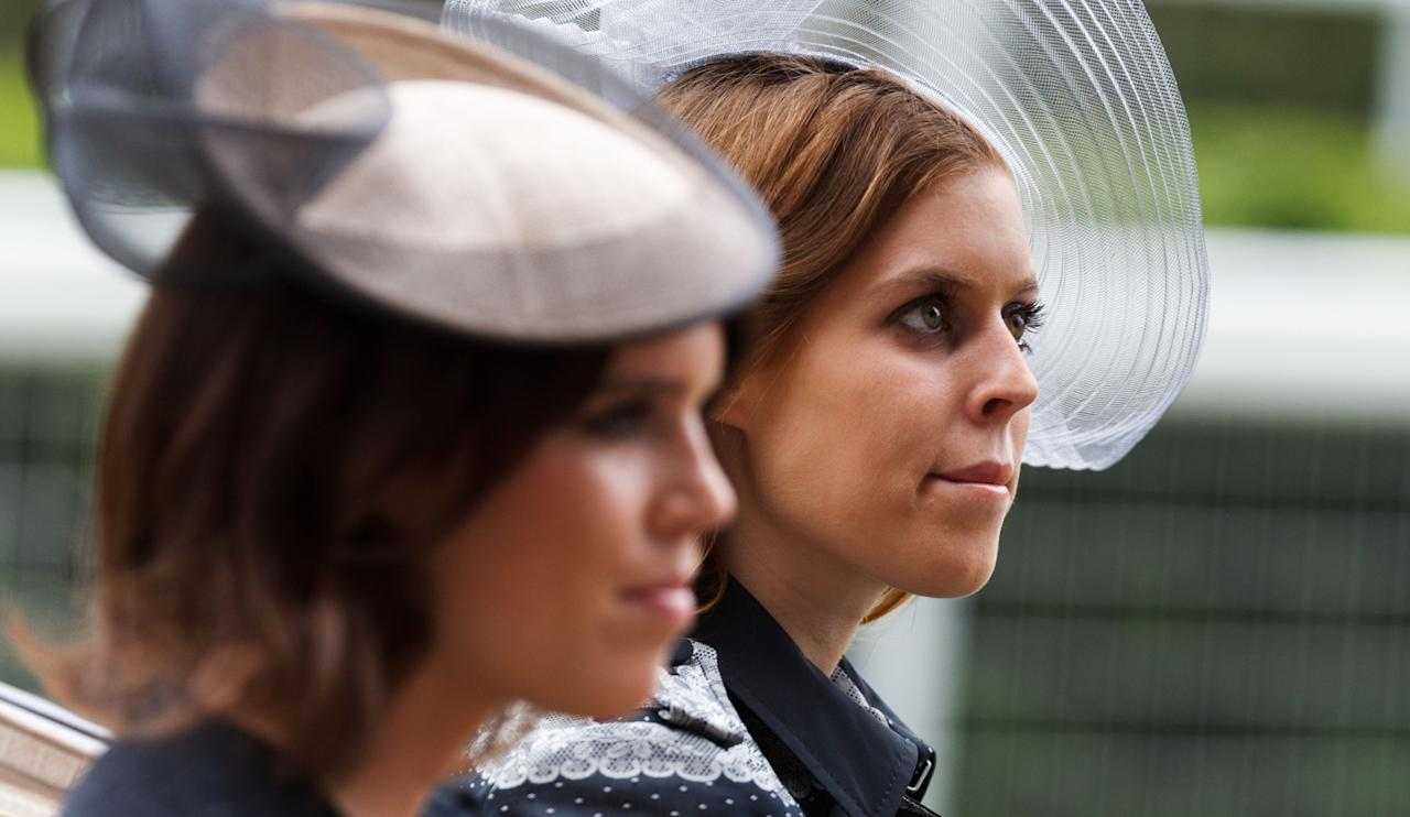 Princess Beatrice (right) and Princess Eugenie during the royal procession before the start of racing during day one of the Royal Ascot meeting at Ascot Racecourse, Berkshire.