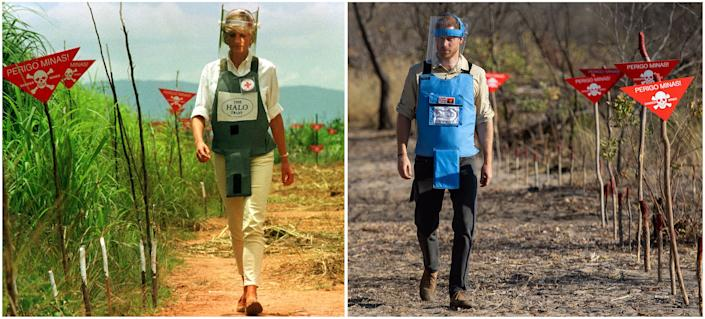 Left: Princess Diana walking in a safety corridor of a land mine field in Huambo, Angola, on Jan. 15, 1997. Right: Prince Harry visiting a de-mining field in Dirico, Angola, on Sept. 27, 2019. (Photo: POOL New / Reuters)