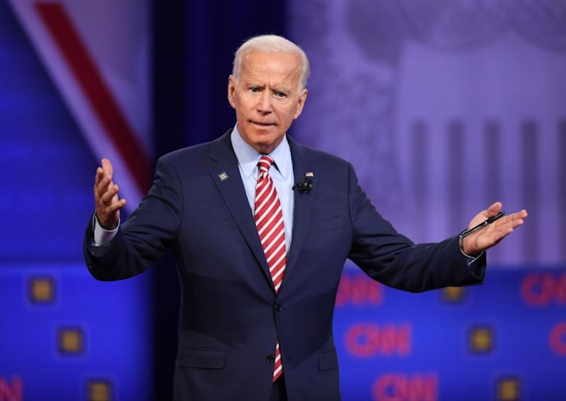 Former Vice President Joe Biden gestures as he speaks during a town hall devoted to LGBTQ issues on Oct. 10, 2019.
