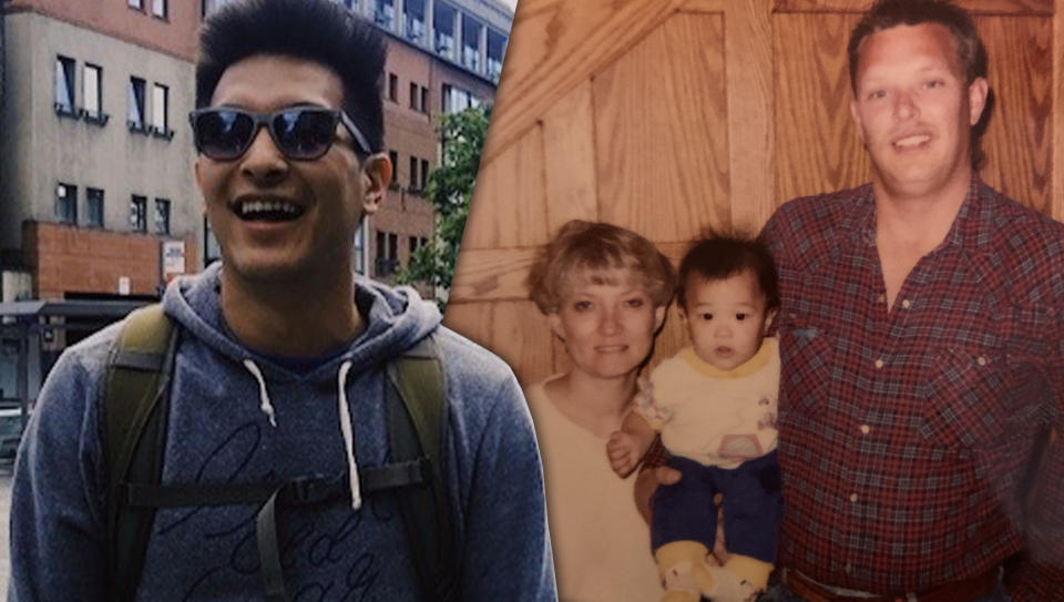 Patrick Armstrong now, and as a baby with his adopted parents. (Courtesy of Patrick Armstrong)