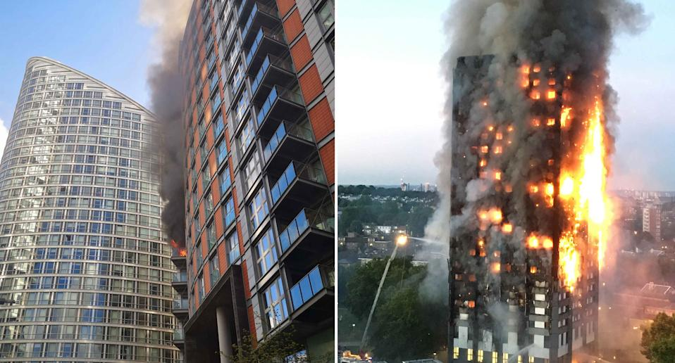 A fire broke out in a flat in New Providence Wharf, a development covered with the same cladding that allowed the Grenfell fire to spread with such deadly speed. (PA Images)