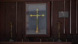 The Changi cross displayed in the chapel. Photo: Changi Chapel and Museum