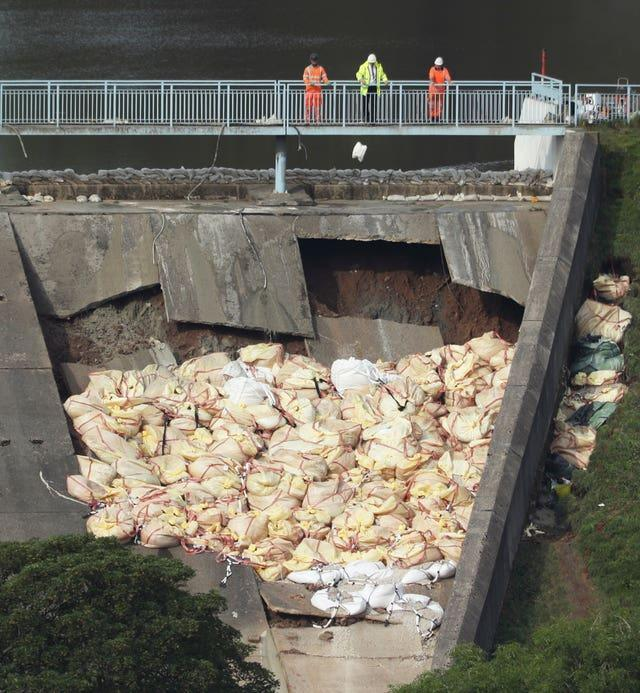 Collapsed dam wall