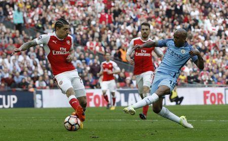 Britain Football Soccer - Arsenal v Manchester City - FA Cup Semi Final - Wembley Stadium - 23/4/17 Manchester City's Fabian Delph shoots wide Reuters / Darren Staples Livepic.