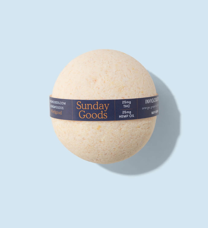 """Yes, this bath bomb has equal amounts of hemp and THC inside, meaning that you're getting double the benefits. But don't worry: <a href=""""https://www.shape.com/fitness/tips/should-you-try-cannabis-creams-pain-relief"""" rel=""""nofollow noopener"""" target=""""_blank"""" data-ylk=""""slk:When used topically"""" class=""""link rapid-noclick-resp"""">When used topically</a>, like in a bath bomb, THC won't give you that """"high"""" feeling. But that shouldn't stop you from freely browsing the rest of the brand's site for something you could use <em>while</em> you soak.<br><br><strong>Sunday Goods</strong> THC CBD Bath, must be a caregiver or patient to shop at <a href=""""https://www.sundaygoods.com/"""" rel=""""nofollow noopener"""" target=""""_blank"""" data-ylk=""""slk:Sunday Goods"""" class=""""link rapid-noclick-resp"""">Sunday Goods</a>."""