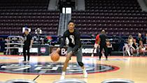 <p>Two-way contract player Malcolm Miller warming up. Miller, alongside Lorenzo Brown (two-way contract) and Alfonzo McKinnie (on assignment), played in Austin on Sunday for Game One of the G League Finals before flying to Detroit to suit up for the Toronto Raptors on Monday. (Photo courtesy: Trung Ho) </p>