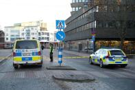 Police gather at knife attack site in Vetlanda