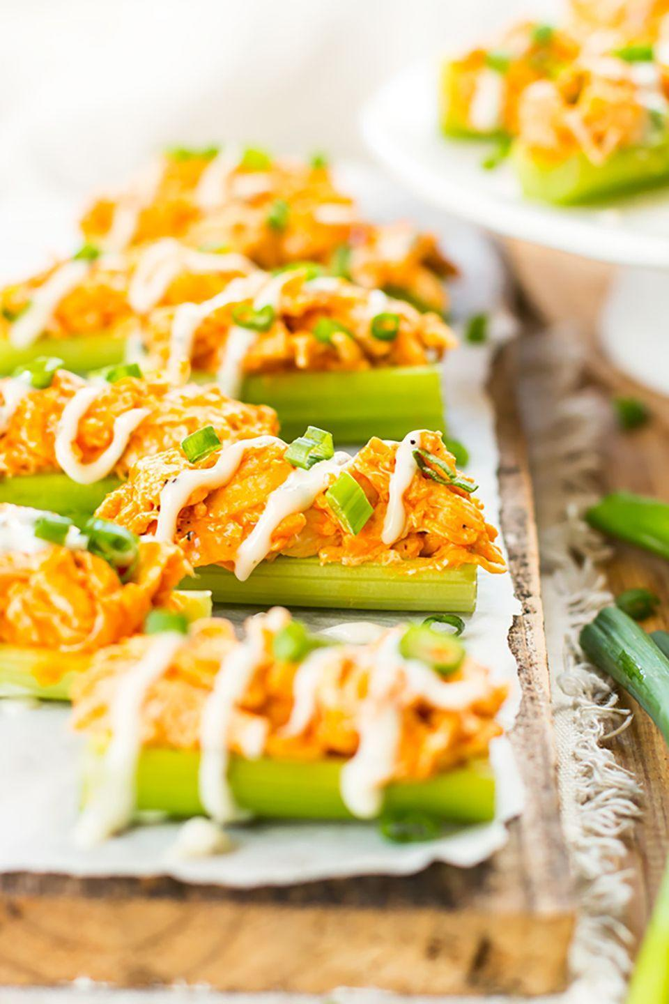 "<p>Buffalo chicken and celery isn't a combination you see every day, but the result is surprisingly delicious!</p><p><strong>Get the recipe at <a href=""http://glutenfreewithlb.com/buffalo-chicken-celery-sticks/"" rel=""nofollow noopener"" target=""_blank"" data-ylk=""slk:Gluten Free with L.B."" class=""link rapid-noclick-resp"">Gluten Free with L.B.</a></strong></p>"