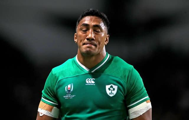 Bundee Aki leaves the field after receiving a red card (Adam Davy/PA)