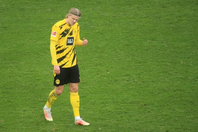 Erling Braut Haaland celebrates scoring Dortmund's late equaliser at Cologne