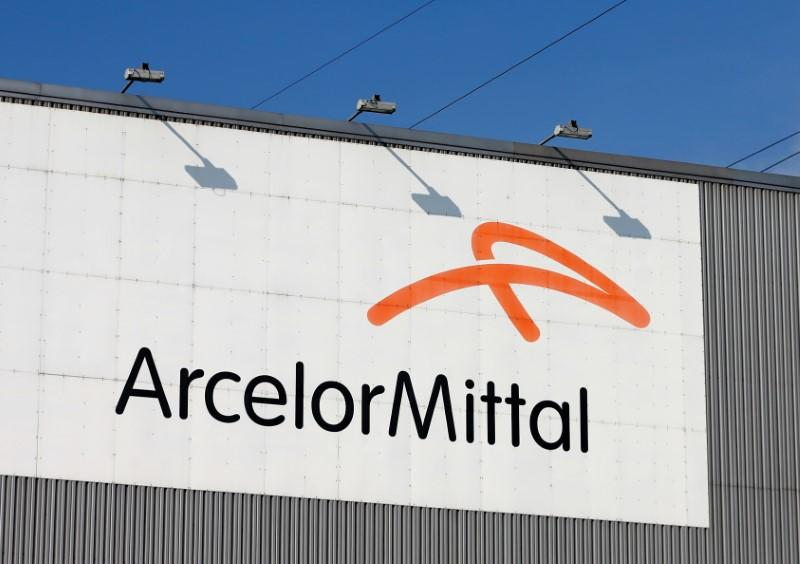 FILE PHOTO: The logo of steel factory ArcelorMittal is pictured in Seraing