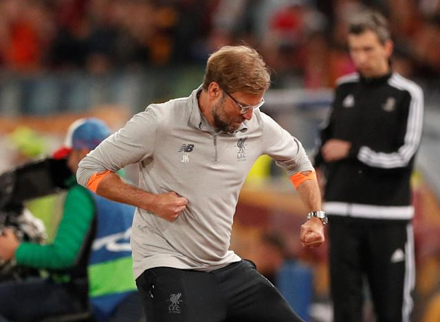 Soccer Football - Champions League Semi Final Second Leg - AS Roma v Liverpool - Stadio Olimpico, Rome, Italy - May 2, 2018 Liverpool manager Juergen Klopp celebrates after Sadio Mane scores their first goal Action Images via Reuters/John Sibley
