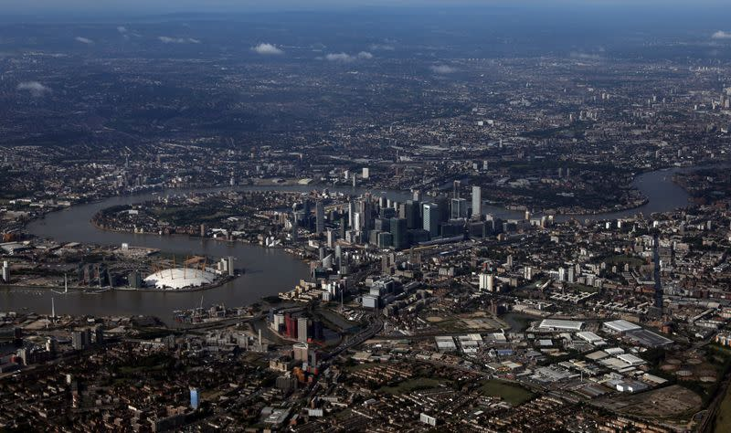FILE PHOTO: The Canary Wharf financial district is seen from an aerial view in London