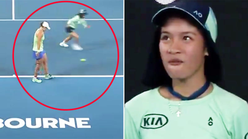 Ash Barty, pictured here stopping to check on the ball girl at the Australian Open.