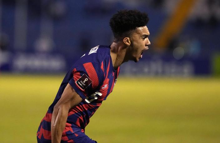 United States' Antonee Robinson celebrates scoring his side's opening goal against Honduras during a qualifying soccer match for the FIFA World Cup Qatar 2022, in San Pedro Sula, Honduras, Wednesday, Sept. 8, 2021. (AP Photo/Moises Castillo)