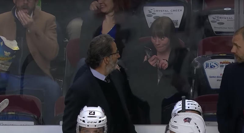 John Tortorella, the head coach of the Columbus Blue Jackets, was having none of a fan's attempt to take a selfie with him during Wednesday night's game against the Calgary Flames. (YouTube/NHL)