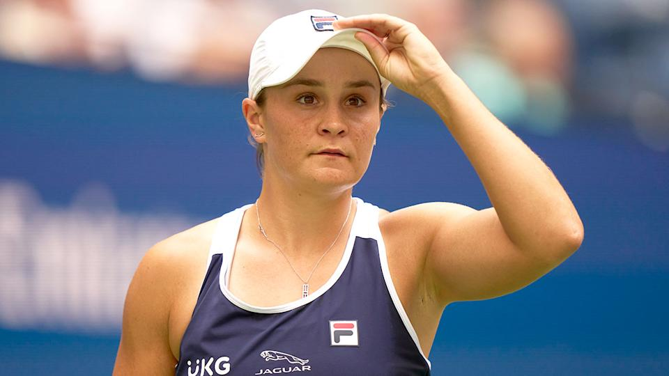 Ash Barty is seen here during a match at the 2021 US Open Tennis Championships.