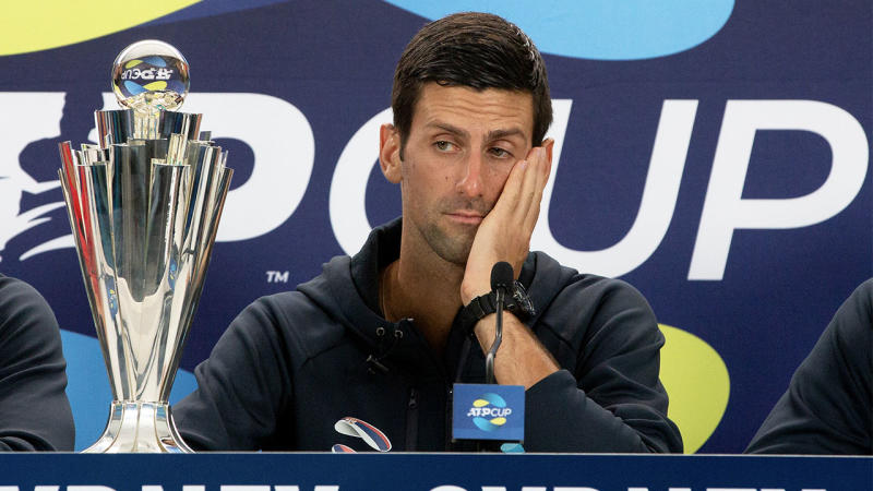 Novak Djokovic during post match press conference at the 2020 ATP Cup Tennis at Ken Rosewall Arena on January 12, 2020 in Sydney, Australia. (Photo by Speed Media/Icon Sportswire via Getty Images)