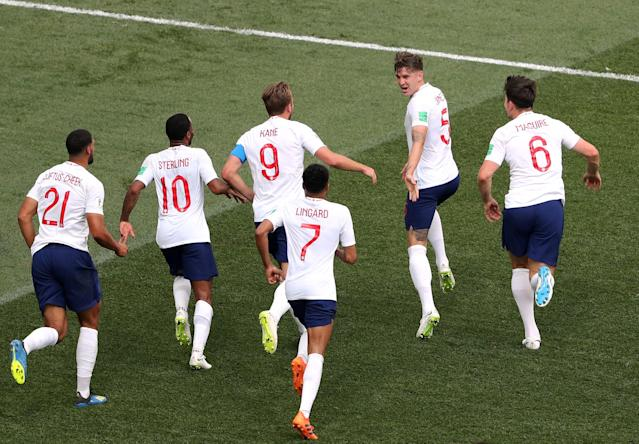 England's John Stones celebrates scoring their fourth goal with team mates REUTERS/Ivan Alvarado