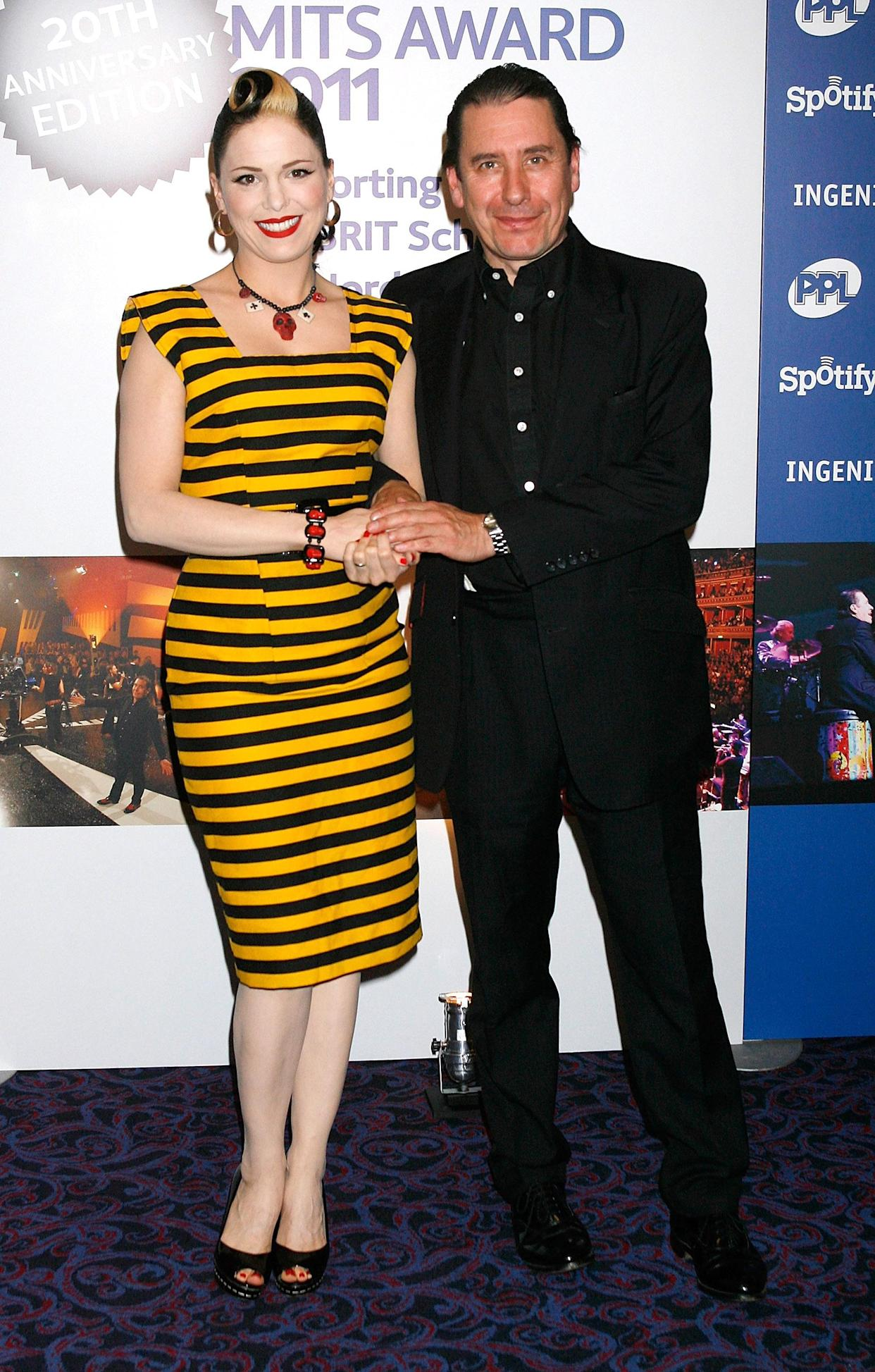 Imelda May and Jools Holland arrive at the Music Industry Awards at the Grosvenor House Hotel in London