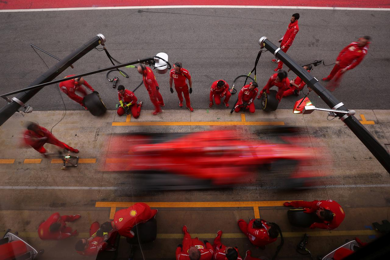 Motor Racing - F1 Formula One - Formula One Test Session - Circuit de Barcelona-Catalunya, Montmelo, Spain - March 8, 2018 -  Ferrari's Sebastian Vettel practice a pitstop during testing. Picture taken March 8, 2018. REUTERS/Albert Gea TPX IMAGES OF THE DAY
