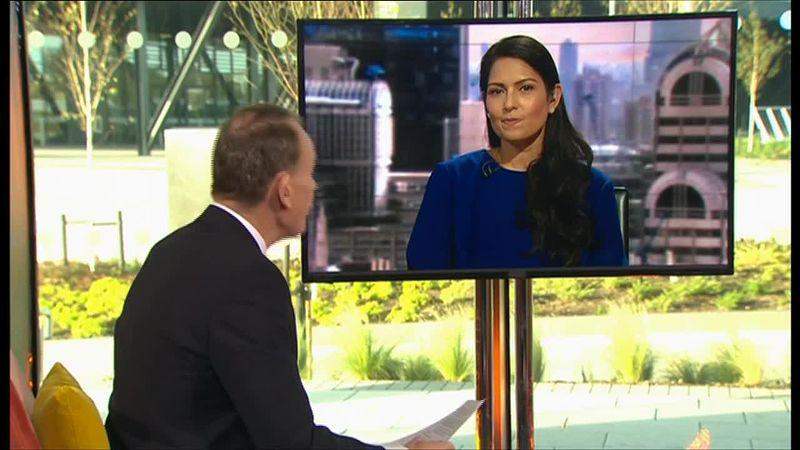 Priti Patel was accused of laughing during the interview with Andrew Marr. (BBC)